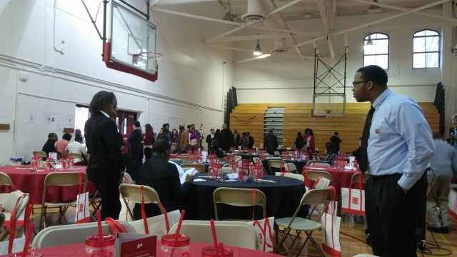 The view from Table 6 of the beautifully decorated gym at Simon Gratz Mastery Charter High School in Philadelphia, PA.